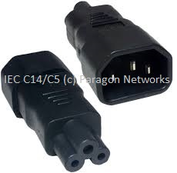 Custom Made - IEC Male (C14) - IEC Female (C5) Power Extension Cable, Black - Custom Made IEC Jumper and UK Mains Leads